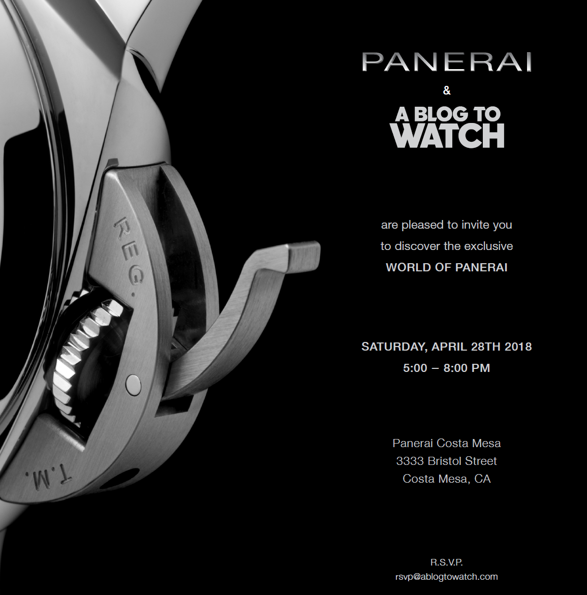 INVITATION: Panerai & aBlogtoWatch Event At South Coast Plaza On April 28, 2018 Shows & Events